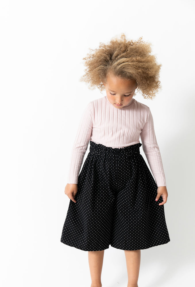 BLACK SWISS DOT CULOTTES