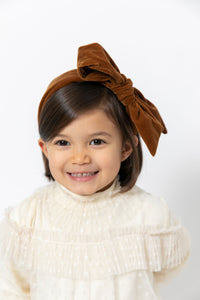 BROWN VELVET BOW HEADBAND