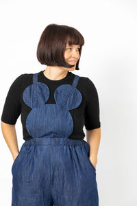 ADULT DARK DENIM MOUSE OVERALLS