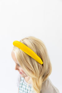 YELLOW VELVET HEADBAND