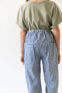 NAVY GINGHAM PANTS