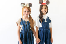 STRIPED DENIM MOUSE OVERALLS
