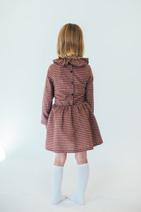 MAROON RUFFLE COLLAR DRESS
