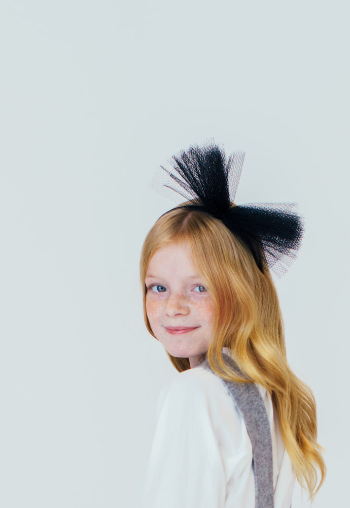 BLACK TULLE HEADBAND
