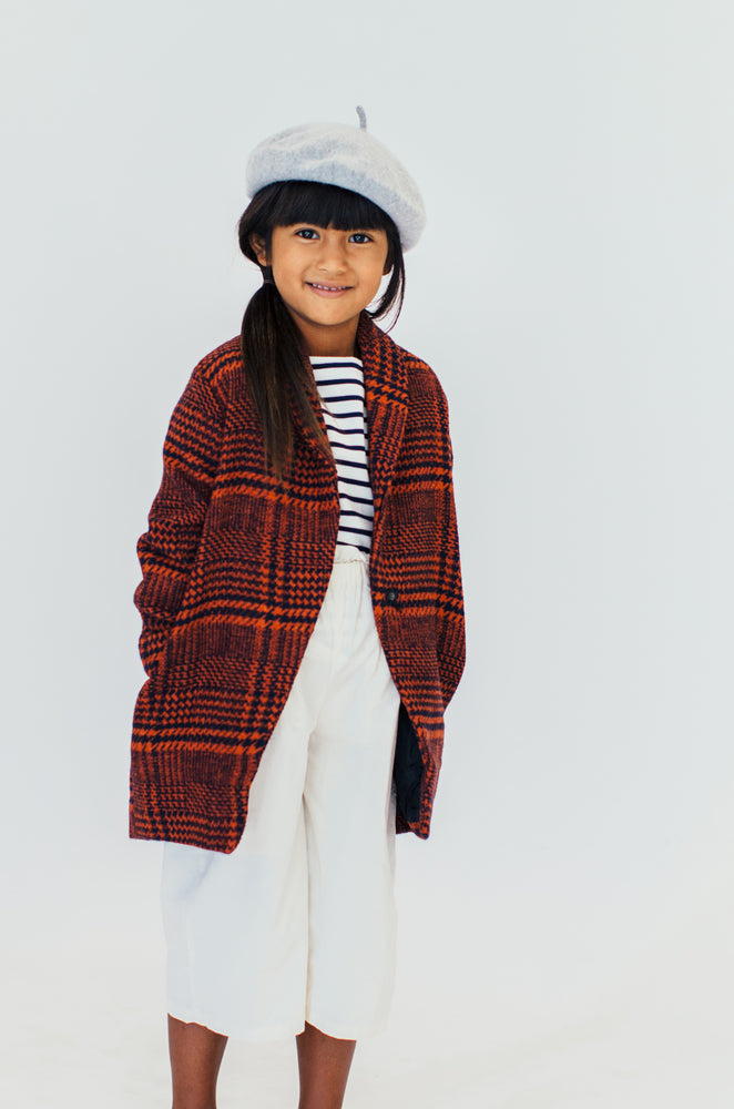 RUST AND NAVY PLAID COAT