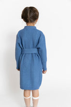 BLUE BELTED SWEATER DRESS