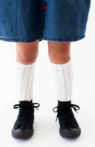 WHITE PINSTRIPE SOCKS