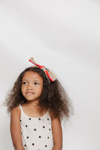 YELLOW STRIPED BOW HEADBAND