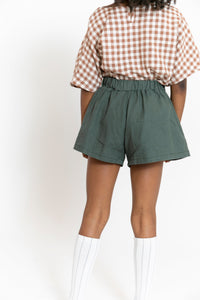 CHARCOAL GREEN BOW SHORTS