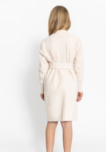 CREAM BELTED SWEATER DRESS