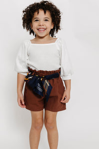 BROWN PAPERBAG SHORTS
