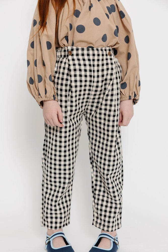 BLACK GINGHAM PANTS