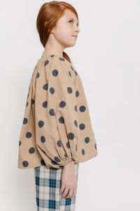 TAN POLKA DOT BLOUSE