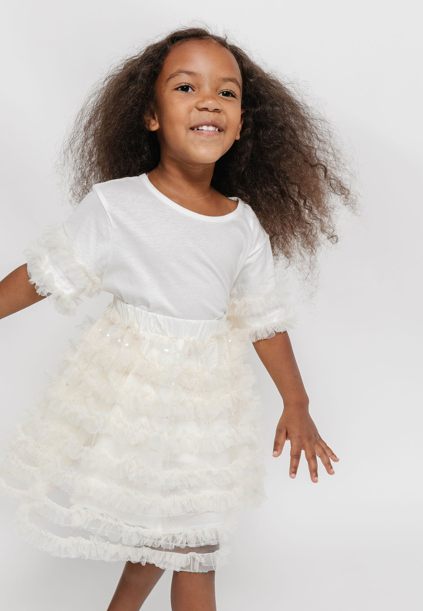 RUFFLED TULLE SKIRT AND SHIRT SET