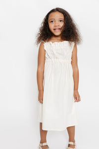 CREAM GATHERED DRESS