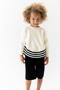 CREAM AND BLACK SWEATER SET