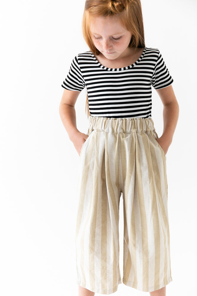 TAUPE STRIPED CULOTTES
