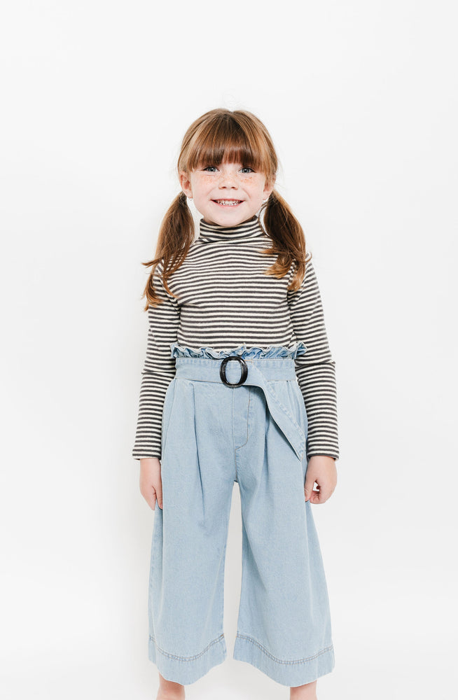 DENIM PLEATED CULOTTES