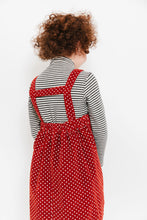 RUST SWISS DOT SUSPENDER SKIRT