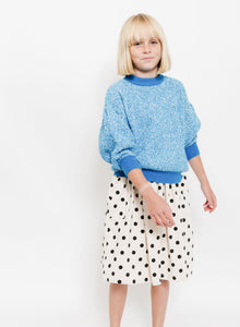 BLUE BALLOON SLEEVE SWEATER