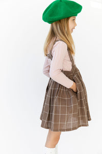 PLAID SUSPENDER SKIRT