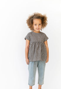 BROWN AND WHITE GINGHAM TOP