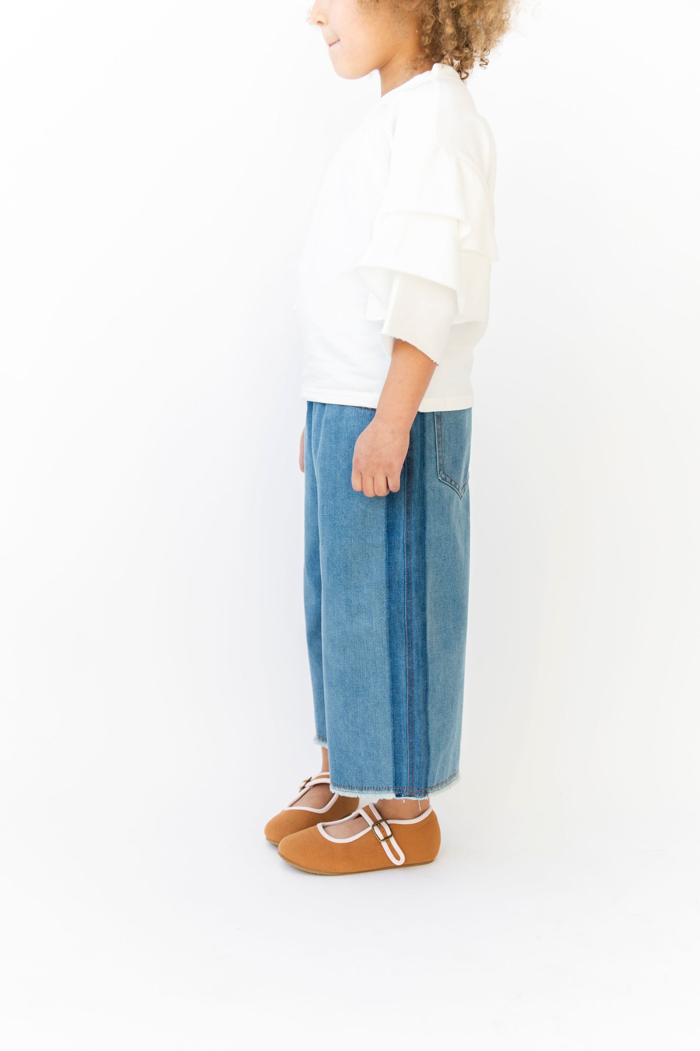FRAYED WIDE LEG JEANS