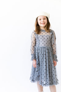 GREY TULLE POLKA DOT DRESS