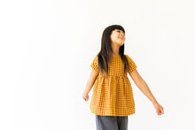 MUSTARD AND CAMEL GINGHAM TOP