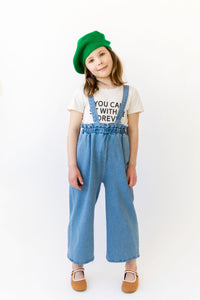 HIGH WAISTED DENIM OVERALLS