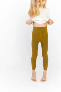 CHARTREUSE RIBBED LEGGINGS