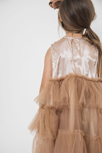 GATHERED TULLE DRESS