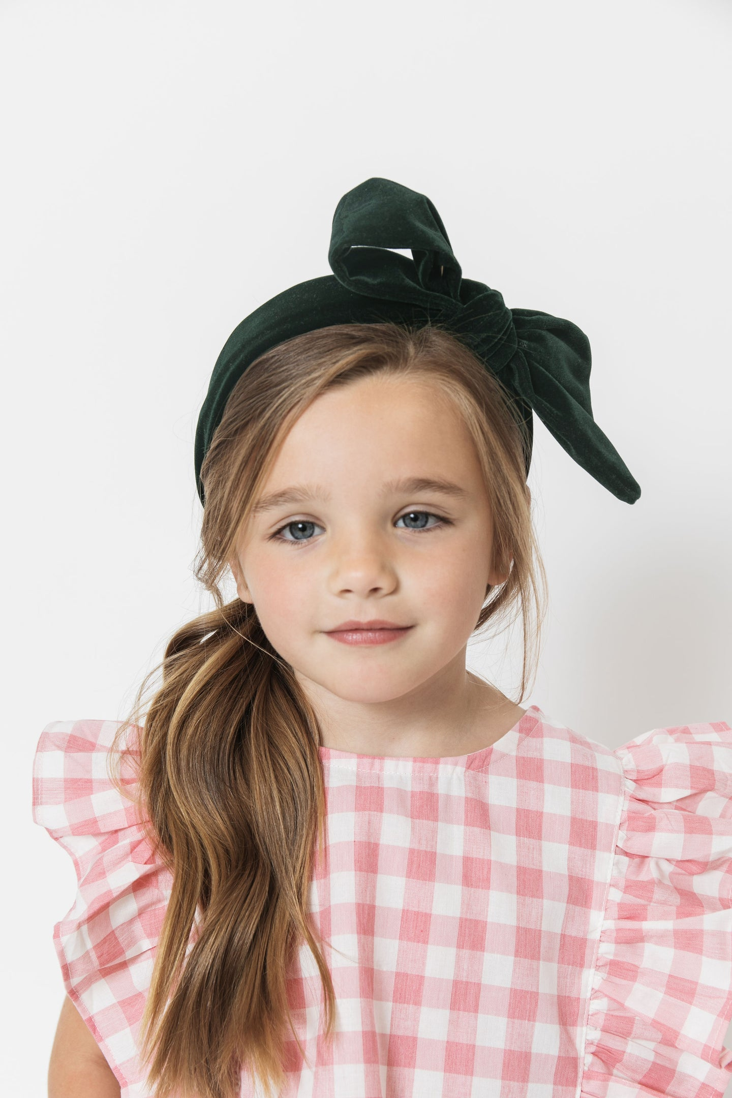 DARK GREEN VELVET BOW HEADBAND