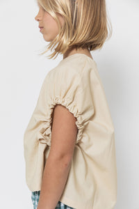 BEIGE GATHERED SLEEVE BLOUSE
