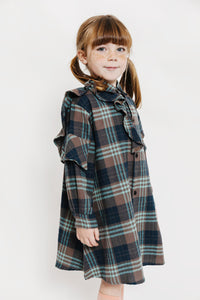 PLAID RUFFLE SHIRT DRESS