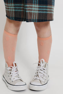 PEACH POLKA DOT SOCKS
