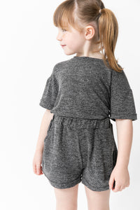CHARCOAL SHIRT AND SHORT SET
