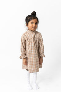 TAN GINGHAM NIGHTGOWN DRESS