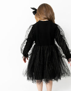 BLACK RIBBED TULLE DRESS
