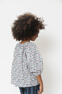 GATHERED FLORAL TOP