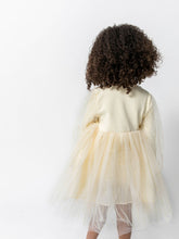 CREAM RIBBED TULLE DRESS