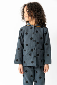 NAVY POLKA DOT PAJAMA SET