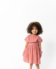 RED GINGHAM SHIRT AND SKIRT SET