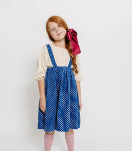 BLUE SWISS DOT SUSPENDER SKIRT