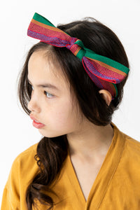 RED STRIPED BOW HEADBAND