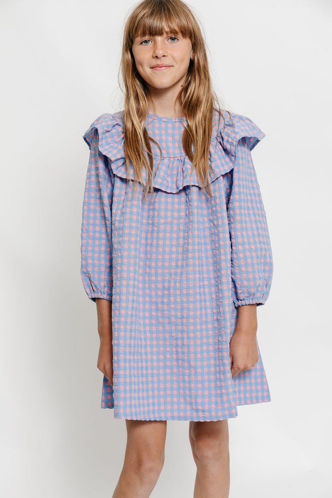 GINGHAM RUFFLE NIGHTGOWN DRESS