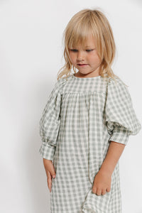 GINGHAM PUFF SLEEVE NIGHTGOWN DRESS