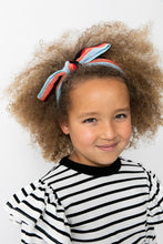 BLUE STRIPED BOW HEADBAND