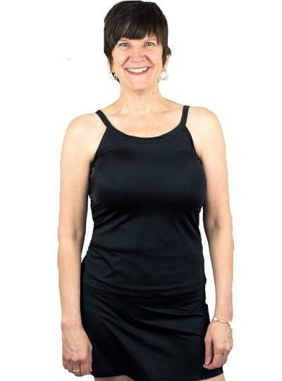 Complete Shaping Mastectomy Swimwear Tankini Swim Top Activewear w Built-In Breast Prosthetics