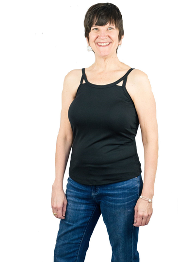 Complete Shaping Mastectomy Camisole Cut Out Tank Top with Built-In Breast Prosthetics